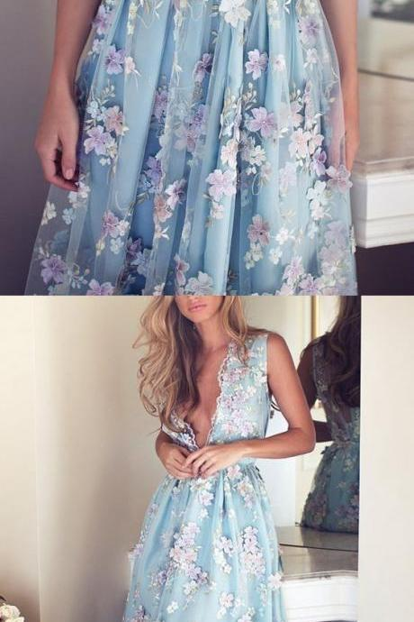 Dream long blue dress with appliques10012