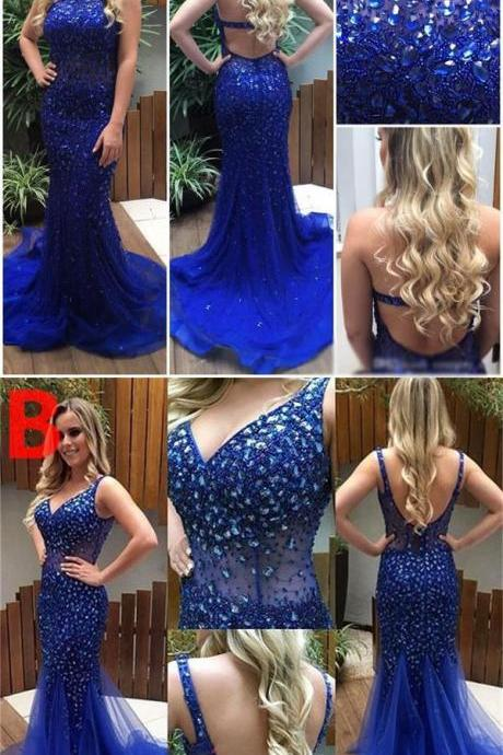 Blue Sparkly Beading Shining Gorgeous Prom Dresses, Formal Newest Prom Dress10009