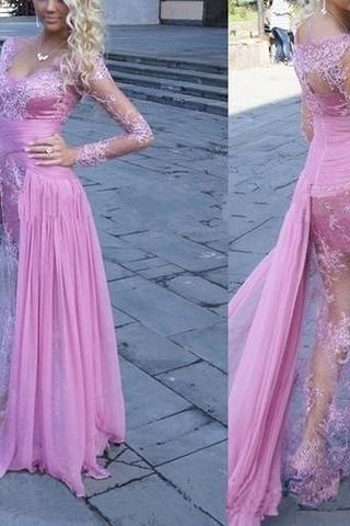Gorgeous See Through Long Sleeve Long Sheath Sexy Lace Tulle Prom Dresses 10035