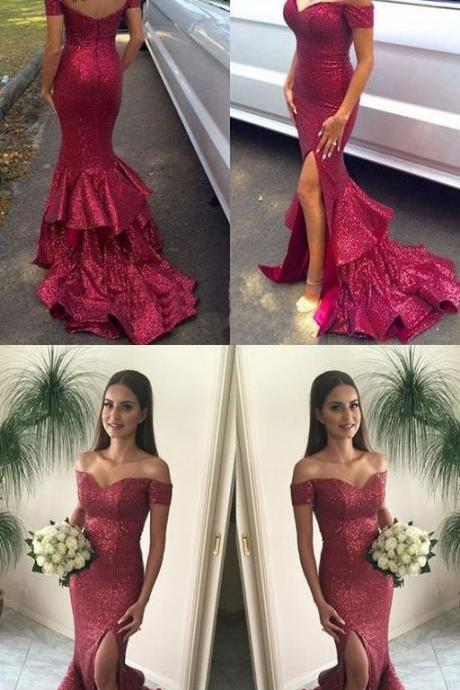 Sexy Off Shoulder Sparkle Red Sequined Mermaid Prom Dresses, Long Red Evening Dresses, Long Prom Dress, Prom Dresses 10039