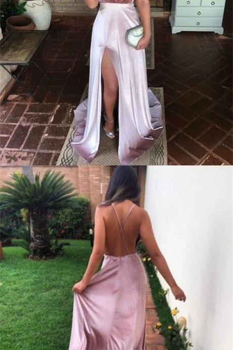 Charming New Sexy Simple Fashion Prom Dresses, Modern Slit Spaghetti Straps Prom Dress 10057