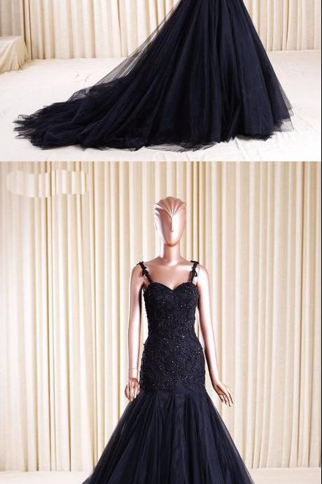 Lace Appliqués Sweetheart Spaghetti Straps Floor Length Tulle Trumpet Dress, Formal Dress, Prom Dress