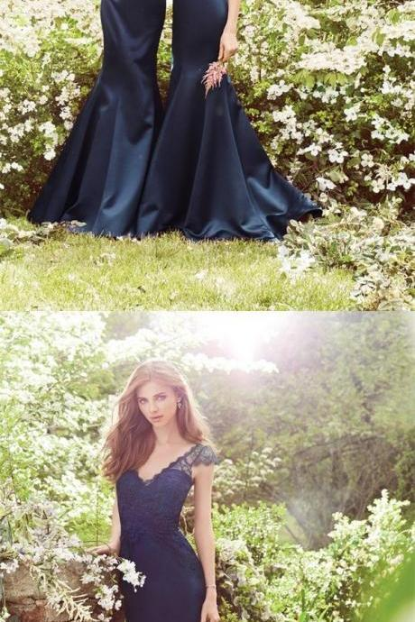 Special Occasion Navy Blue popular Prom Dress, Fashion Bridesmaid Dress, Dresses For Wedding Party Guest 10065