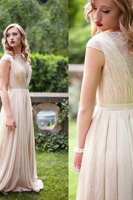 Ivory A-line Scoop Floor-length Chiffon Evening Dress Prom Dresses 10077