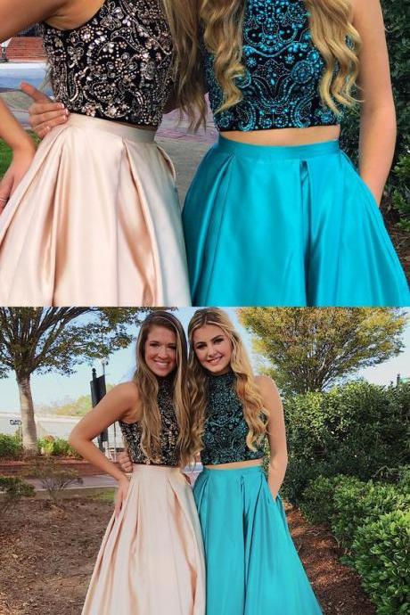 Gorgeous Prom Dresses,Two Piece Prom Dress,Beads Prom Dresses,Long Prom Dress,High Neck Prom Dresses 10081