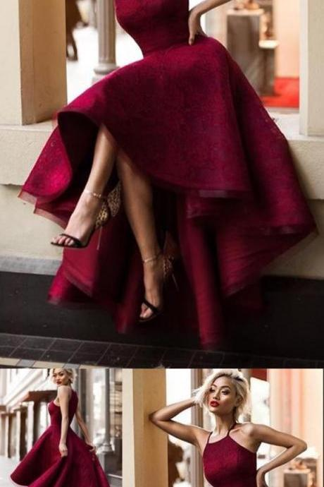 Simple A-Line Square Hi-Lo Burgundy Lace Sleeveless Prom Dress 10205