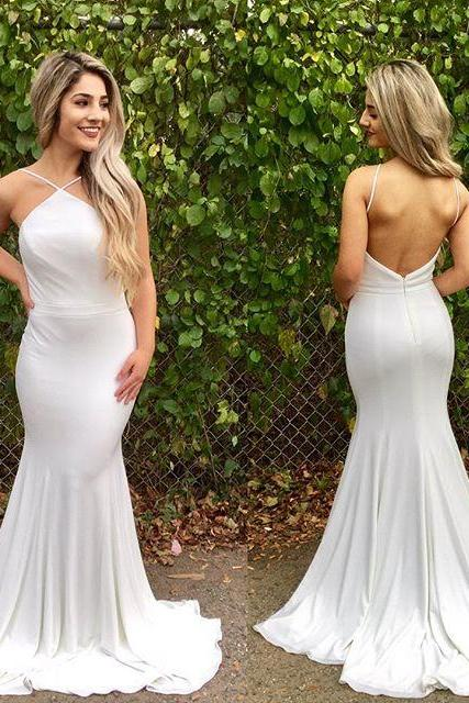 White Long Prom Dress, Mermaid Long Prom Dress Evening Dress 10416