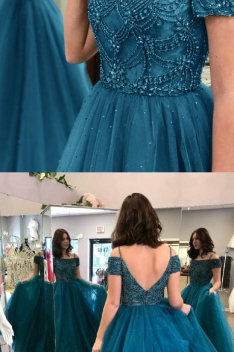 Ball Gown Off-the-Shoulder Sweep Train Dark Blue Tulle Prom Dress with Beading 10444