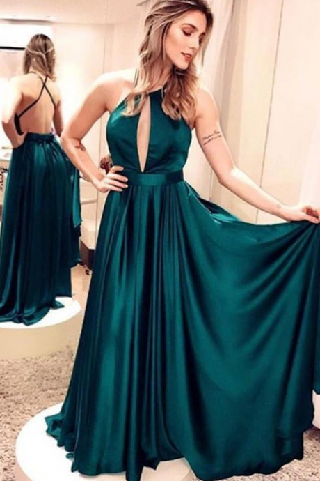 Emerald Green Satin Long Prom Dresses ,A-Line Evening Dresses Simple Backless Prom Dresses Party Dresses 10669
