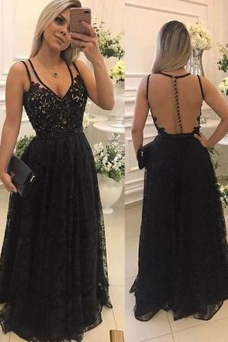 Black lace see through long prom dress, black evening dress 10697