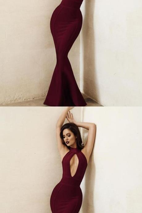 Burgundy Satin Prom Dresses Long Mermaid Evening Dresses Backless Formal Gowns Halter Party Dresses for Women 10703