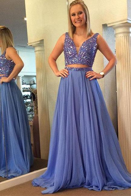 Custom made two pieces chiffon long prom dress, evening dress 10704