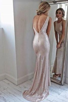Charming Evening Dress, Sleeveless Long Prom Dresses, Open Back Mermaid Prom Dresses