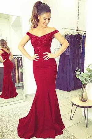 Elegant V-neck Long Mermaid Prom Dresses Lace Prom Dress Beaded Evening Gowns
