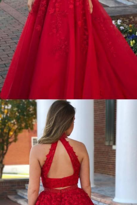 Two Piece High Neck Red Long Prom Dress Lace Prom Dress