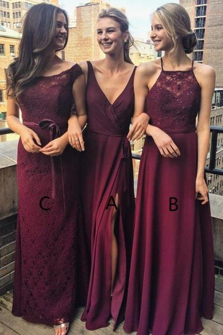 A-Line V-Neck Floor-Length Grape Chiffon Bridesmaid Dress with Split, Lace Bridesmaid Dresses, Fashion Bridesmaids Dresses,Wedding Party Dresses