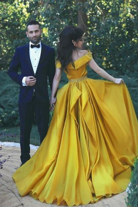 Stylish A-Line Off-Shoulder Yellow Floor-Length Prom Dress Evening Dress with Beading