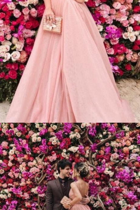 Sexy Straps Deep V Neck Pink Long Prom Dress Backless Evening Dresses