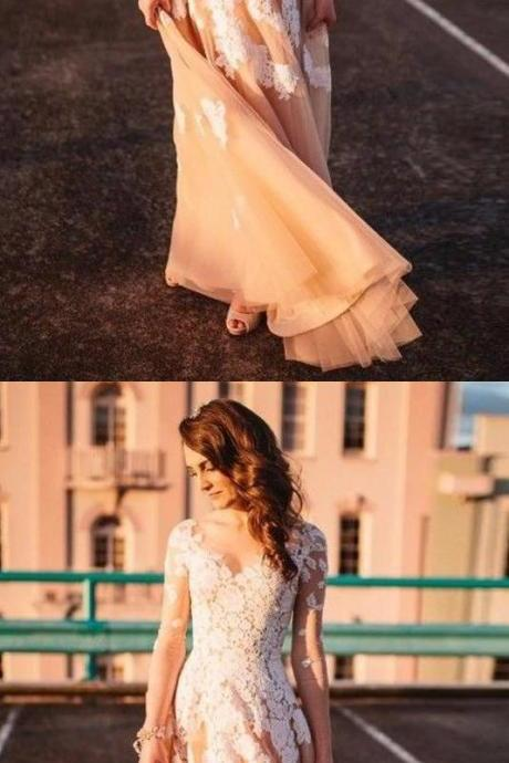 Lace A-line Long Sleeves Tulle Simple Cheap Long Wedding Dresses,Prom Dress