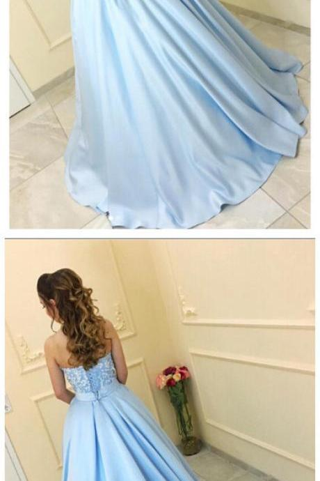 Light Blue Sweetheart A-Line Beading Prom Dresses,Long Prom Dresses,Cheap Prom Dresses, Evening Dress Prom Gowns, Formal Women Dress,Prom Dress