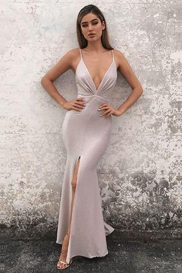 Hot Sexy Mermaid Deep V-Neck Split Front Long Prom Dress Evening Dress with Criss Cross