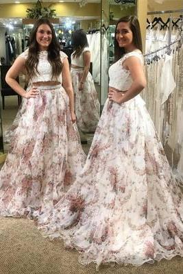 Two Piece White Lace and Floral Long Prom Dress with Open Back