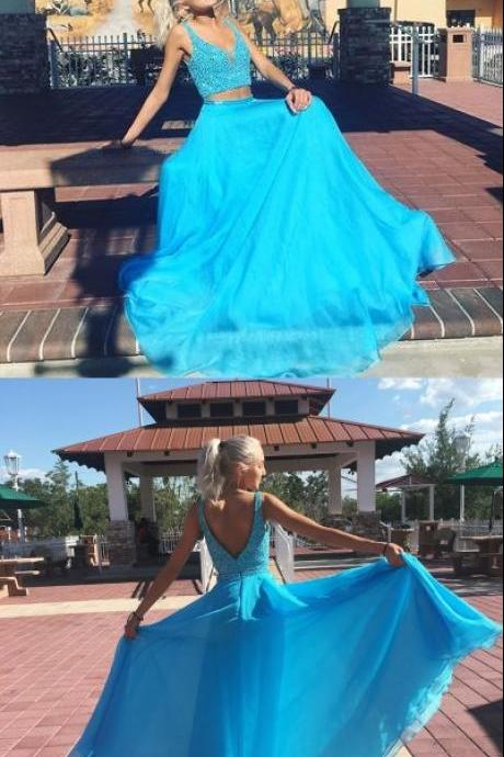 Gorgeous Two Piece Blue Chiffon Long Prom Dress with Side Slit