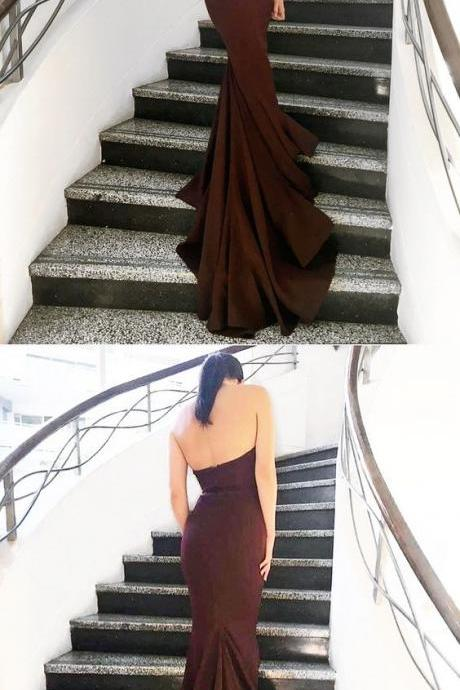 Strapless Mermaid Burgundy Navy Blue Nude Pink Long Bridesmaid Dress with Train