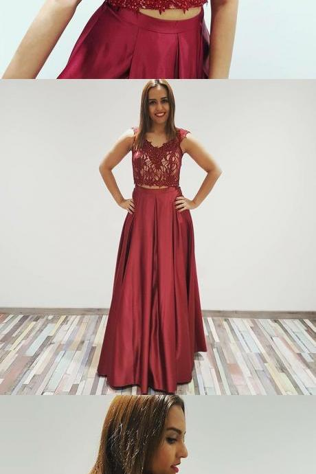 Modern Two Piece A-Line, Off-The-Shoulder Burgundy Long Prom Dress, Evening Dress With Lace Beading