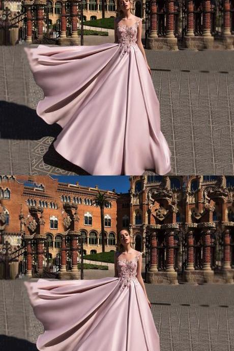 Glamorous A-Line,V-Neck Sleeveless Long Prom Dress, Evening Dress With Appliques