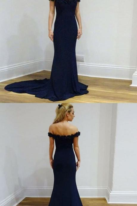 Elegant Mermaid,Off-The-Shoulder Navy Blue Long Prom Dress , Evening Dress With Appliques