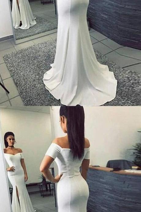 Simple Mermaid Off-The-Shoulder Split Front White Long Prom Dress