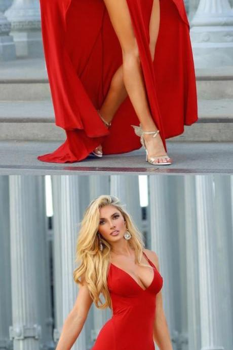 High Slit Sheath ,V-Neck Backless Prom Dresses,Long Red Prom, Black Chiffon Prom Dress, Formal Evening Party Dresses