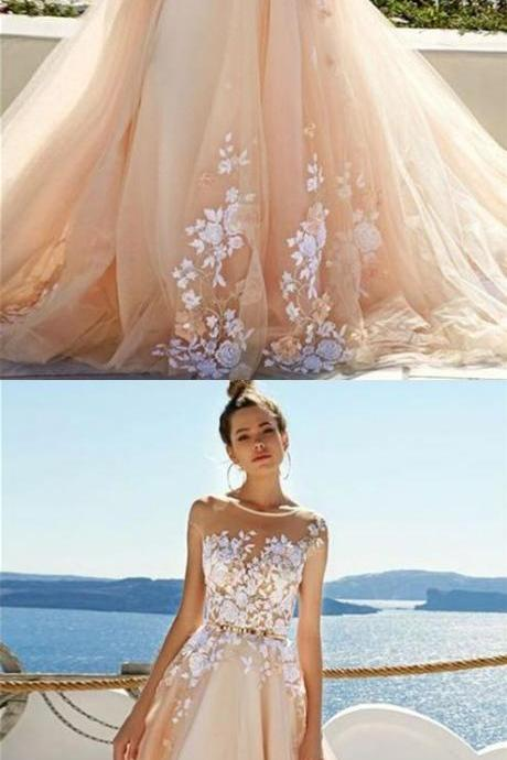 Chic Prom Dress, Bridal Dress, Wedding Dress, High Quality Prom Dresses with Appliques