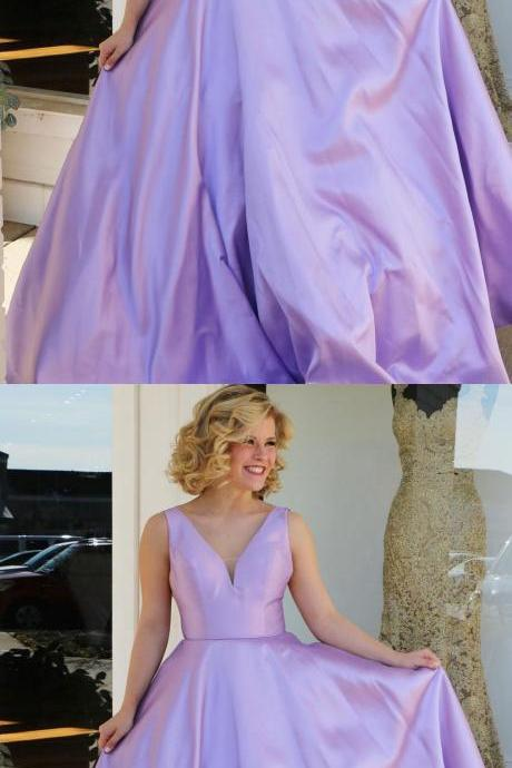 Cheap Long Prom Dresses,Lilac Satin V-neck Long Formal Party Dresses
