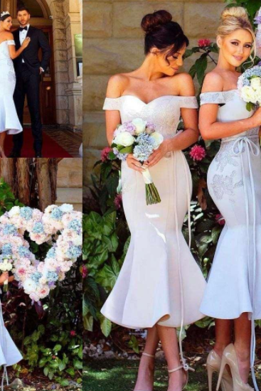 Tea Length Trumpet Short Bridesmaid Dresses, 2018 Sexy Off the Shoulder Sleeveless Lace Appliqued Maid of Honor Dress for Weddings
