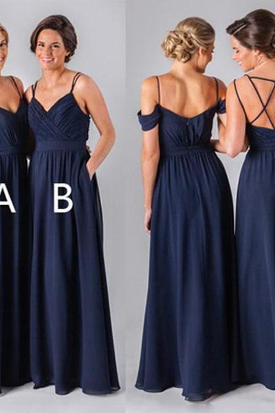 2018 Mismatched Different Styles Chiffon Navy Blue Formal Cheap Sexy Bridesmaid Dresses