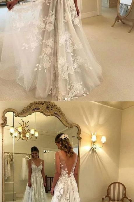 White V-Neck Lace Tulle Wedding Dress,Charming Prom Dress