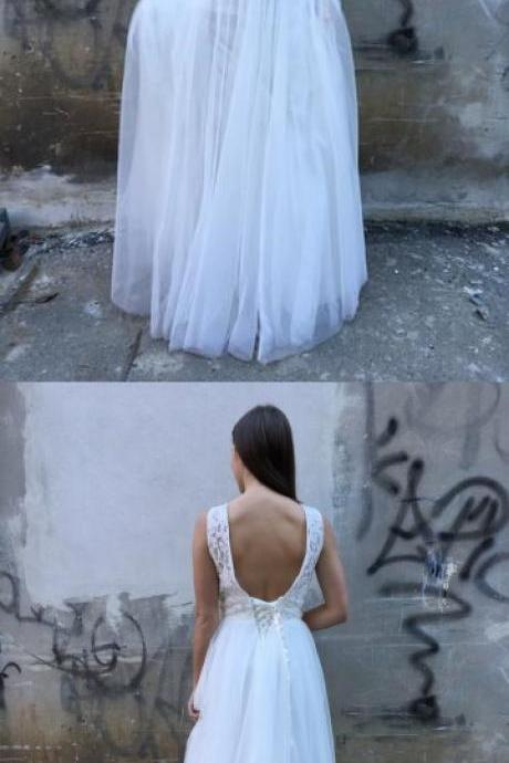 A-Line Crew Backless Floor-Length White Prom Dress with Lace