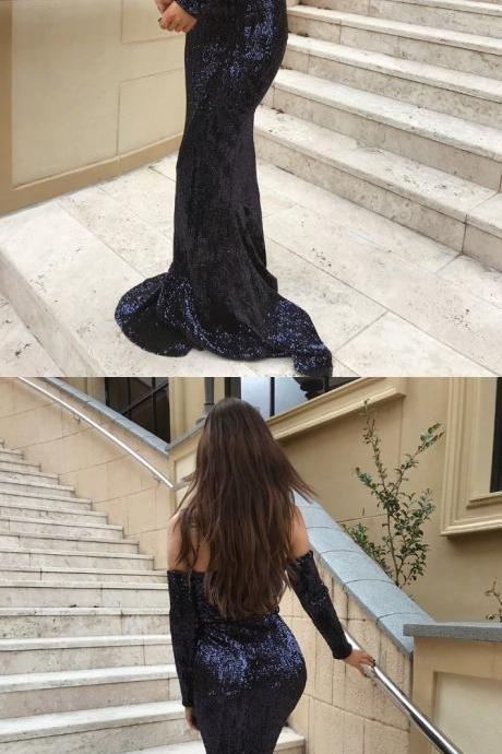 Mermaid Off-the-Shoulder Long Sleeves Navy Blue Sequined Prom Dress