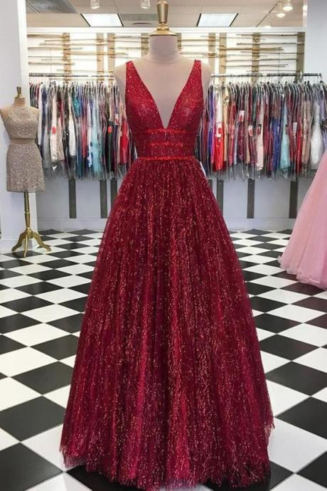 Stunning Red V Neck Sleeveless Prom Dresses Floor Length A Line Formal Party Dress