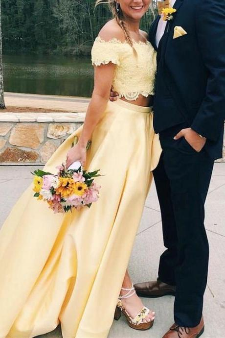 Two Piece Off the Shoulder Yellow Long Prom Dress