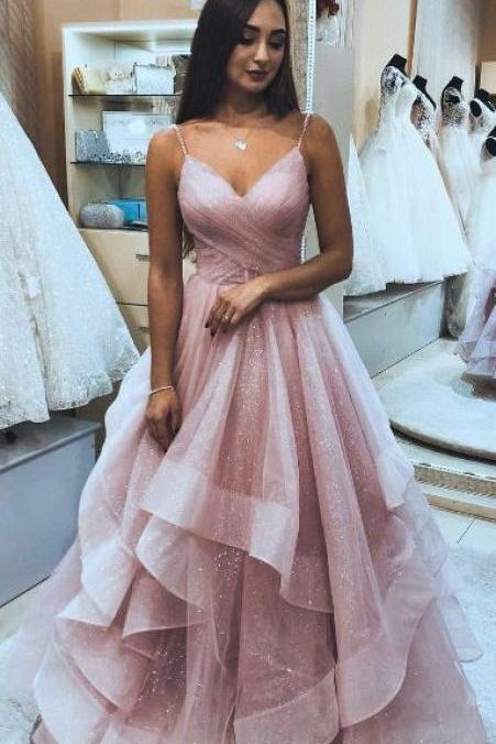 Spaghetti Straps Pink Tulle Long Prom Dress with Layers, 2019 Pink Prom Dress Graduation Dress