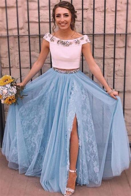 Elegant 2 Pieces White And Sky Blue Beaded Lace Long Prom Dresses