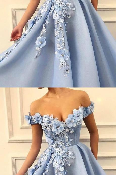 Charming Blue Tulle Flower Long Prom Dresses, Sexy Blue Evening Party Dress