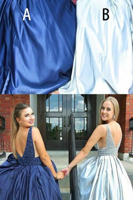 Mismatched Beading Satin Sleeveless Prom Dresses