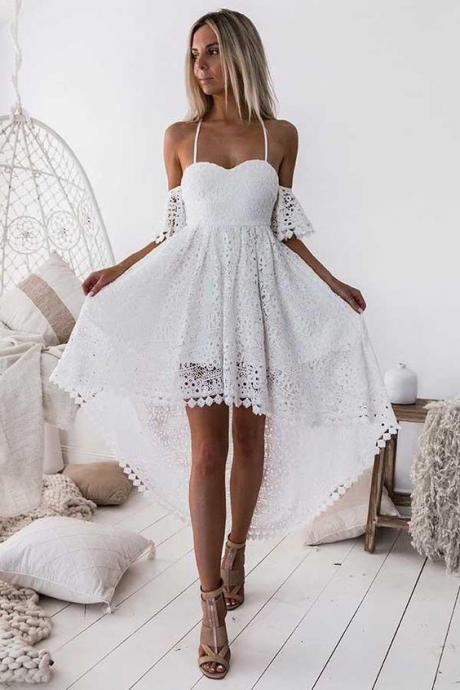 Discount Magnificent White Lace Prom Dress, Homecoming Dresses Lace, Prom Dress Backless, High Low Homecoming Dresses