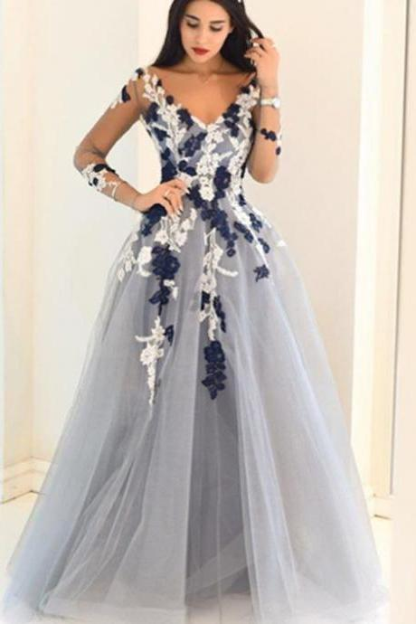 Dusty Blue Appliqued V-neck Ball Gown Prom Dress with Long Sleeves