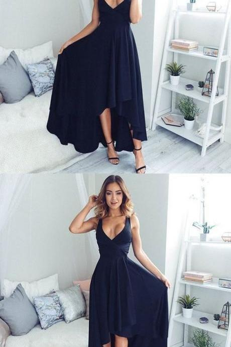 High Fashion A-Line V-Neck High-Low Navy Blue Long Prom Dress
