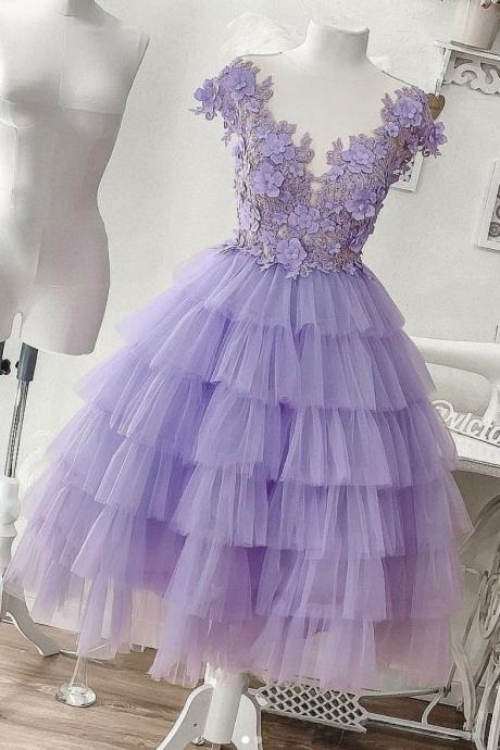 Purple tulle short prom dress, purple evening dress